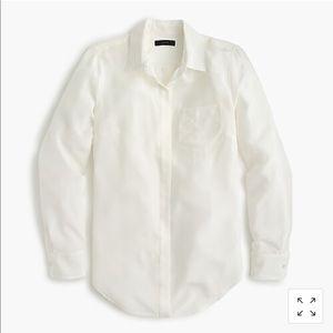 Jcrew silk button up shirt ivory